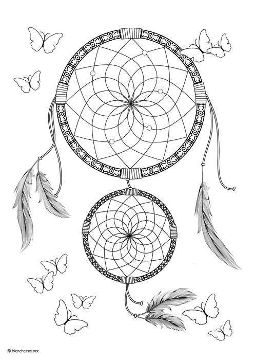 Favori Coloriage attrape-rêves ou dreamcatcher gratuit pour adulte  TO28