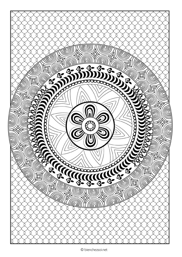 Coloriage Mandala Rond.Coloriage Mandala Rond Gratuit Pour Adulte Dessin Anti Stress