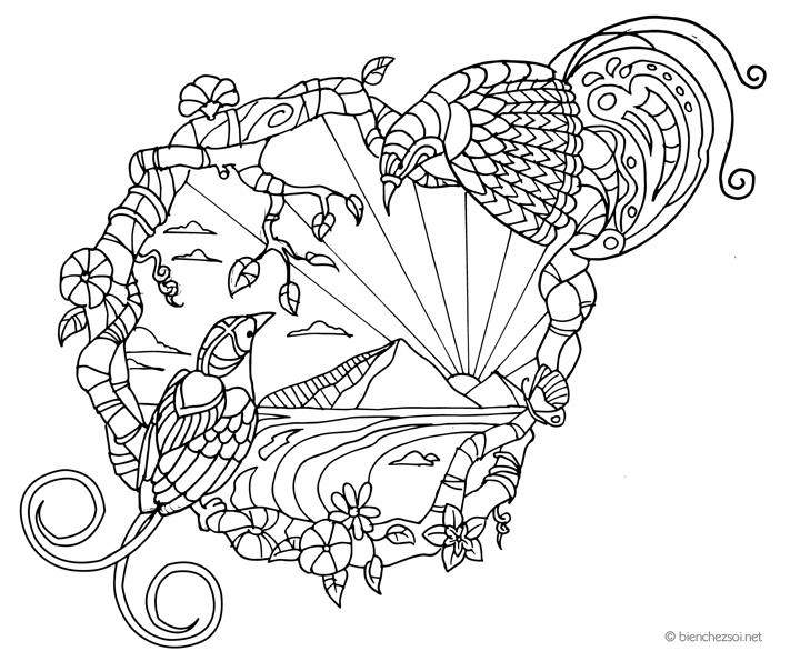 Coloriage Adulte Soleil.Coloriage Oiseaux Zen Gratuit Pour Adulte Dessin Anti Stress