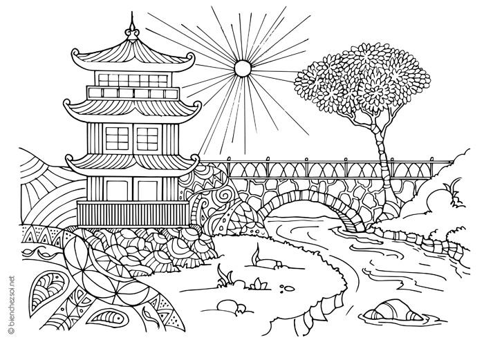 Coloriage Temple Zen à Colorier Dessin Pour Se Relaxer Gratuit Pour